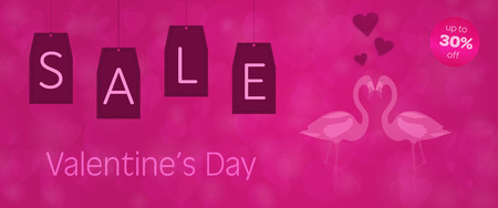 Valentine's day - Sale. Flamingos in love and background with hearts. Text: Valentine's Day - up to 30% off Illustration