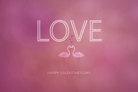 Valentine's day concept. Two flamingos with hearts and text Love.