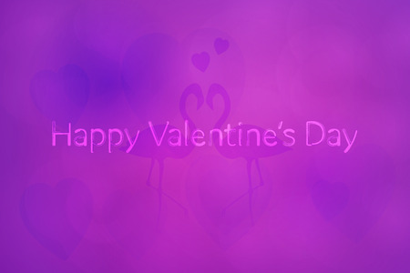 Valentine's day concept with background of hearts and flamingos and text in watercolor style, Happy Valentine's Day.