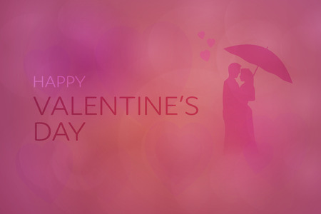 Valentine's day. Background with hearts and couple. Text: Happy Valentine's Day.
