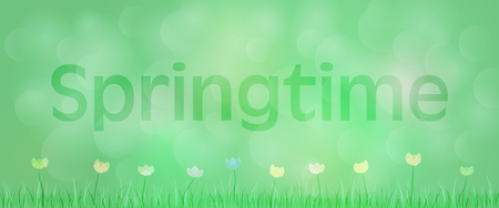 Springtime background, green landscape with flowers and grass in the foreground, text: springtime. Illustration