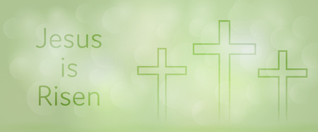Easter background. Three crosses with text : Jesus is Risen.