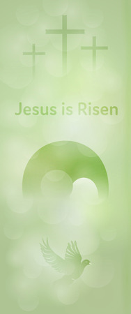 Easter background. Three crosses, empty tomb and dove with text : Jesus is Risen. Stock Vector - 95585833
