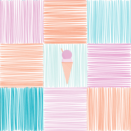 Pattern background. Seamless pattern of scribble squares with ice cream in pastel color tones. Иллюстрация