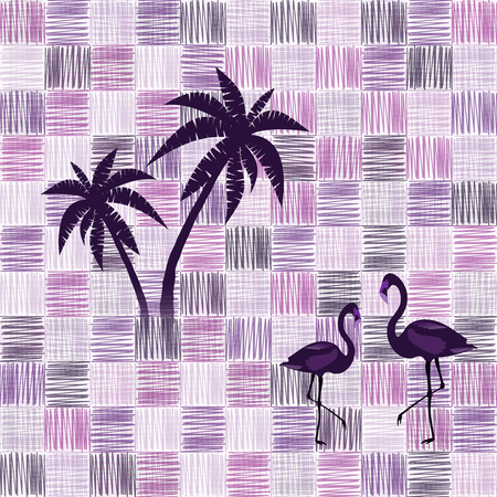 Pattern background. Seamless pattern of scribble squares with flamingos and palms in violet color tones. Иллюстрация