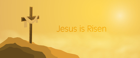 Easter background with Cross on rocks with shroud and text : Jesus is Risen. Stock Illustratie