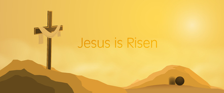 Easter background. Cross on rocks with shroud, empty tomb and text : Jesus is Risen.