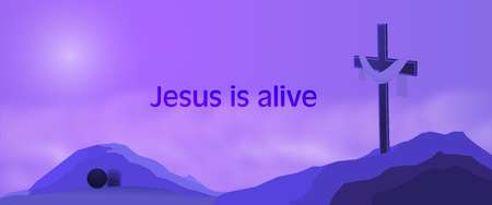 Easter background. Cross on rocks with shroud, empty tomb and text : Jesus is alive.