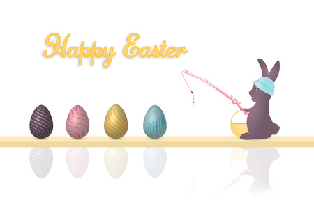 Happy Easter, rabbit with hut and basket is fishing Easter eggs. Text is Happy Easter.