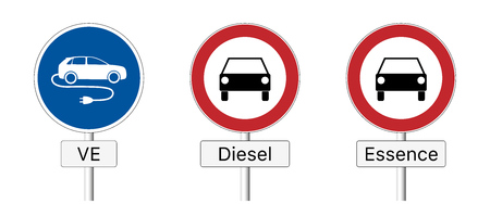 Diesel ban. Traffic sign prohibiting the use of diesel and gasoline vehicles and permitting the use of e-cars only.