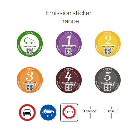 Emission sticker. French emission stickers for cars and traffic signs prohibiting the use of diesel vehicles. Ilustração