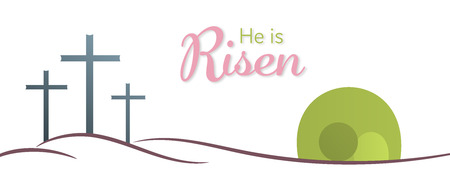 Easter background. Three crosses and empty tomb with text : He is Risen.