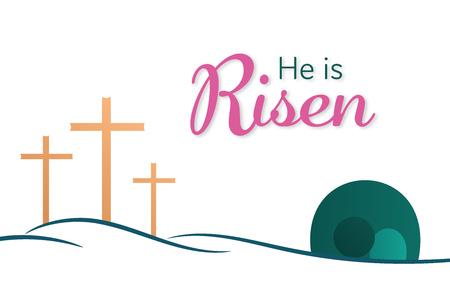 Fond de Pâques. Trois croix et tombe vide avec texte: Il est ressuscité.