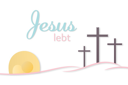 Three crosses and empty tomb with text Jesus is alive in German vector illustration