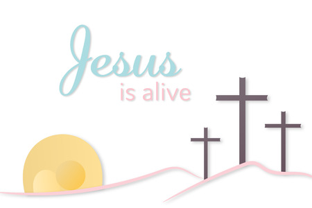 Three crosses and empty tomb with text Jesus is alive vector illustration Illustration