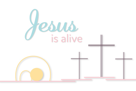 Three crosses and empty tomb with text Jesus is alive vector illustration Stock Illustratie
