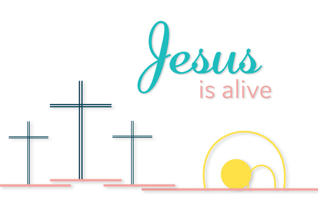 Three crosses and empty tomb with text Jesus is alive vector illustration Çizim