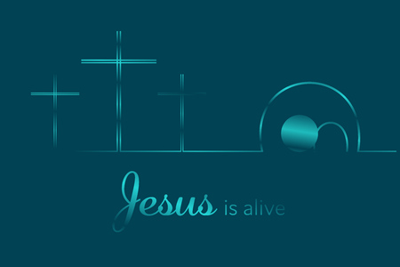 Easter background. Three crosses and empty tomb with text : Jesus is alive. Vector illustration. Stock Illustratie