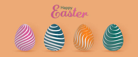 Happy Easter. Easter eggs with pattern in trendy colors with text : Happy Easter Stock Photo