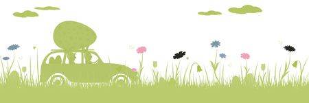 Happy Easter. Field with two rabbits in car, Easter eggs, butterfly and flowers. Illustration