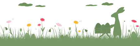 Happy Easter. Field with rabbit pushing a shopping cart, Easter eggs, butterfly and flowers.