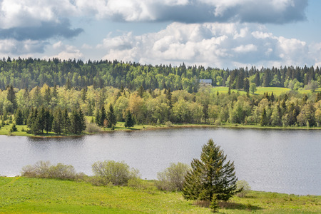French landscape - Jura. View over the lake of Des Mortes in the Jura mountains (France).