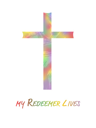 Christian illustration. Modern watercolor cross symbol with text : My Redeemer lives