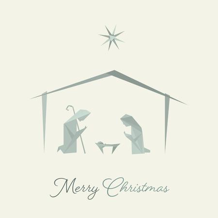 Czas świąt. Szopka z Maryją, Józefem i Dzieciątkiem Jezus w stylu origami. Tekst: Wesołych Świąt Ilustracje wektorowe