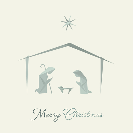 Christmas time. Nativity scene with Mary, Joseph and baby Jesus in origami style. Text : Merry Christmas Illustration