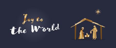 Kersttijd. Kerststal met Maria, Jozef en kindje Jezus. Tekst: Vreugde aan de wereld. Vector Illustratie
