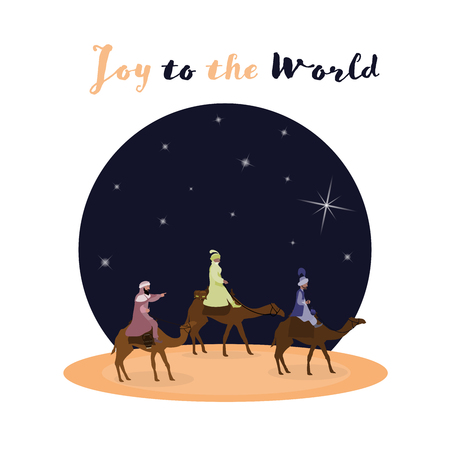 Christmas time. The three kings follow the star to Bethlehem. Text : Joy to the world Stockfoto - 111703948