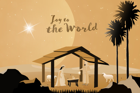 Christmas time. Nativity scene with Mary, Joseph and baby Jesus. Text : Joy to the world Illustration