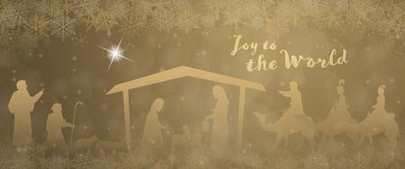 Periodo natalizio. Presepe con Maria, Giuseppe, Gesù bambino, pastori e tre re nel paesaggio natalizio.