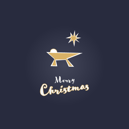 Christmas time. Jesus baby in manger. Modern style. Text : Merry Christmas