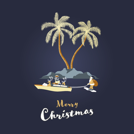 Christmas time. Reindeers in boat pull Santa Claus on skis. Tropical landscape in festive colors. Text: Merry Christmas