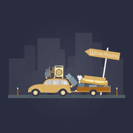 Verlegung. Auto mit Anhänger und Möbeln. Zeichen : Wir ziehen um.
