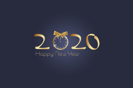 Happy New Year. Retro clock with numbers in golden colors. Ilustração