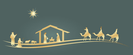 Christmas time. Nativity scene with Mary, Joseph, baby Jesus, shepherds and three kings. Vettoriali