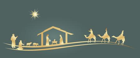 Periodo natalizio. Presepe con Maria, Giuseppe, Gesù bambino, pastori e tre re.