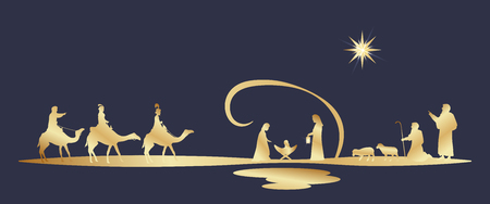 Tiempo de Navidad. Belén con María, José, el niño Jesús, pastores y tres reyes.