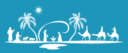 Christmas time. Nativity scene with Mary, Joseph, baby Jesus, shepherds and three kings. Stock Illustratie
