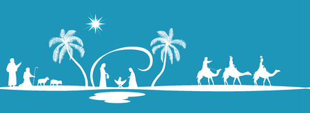 Christmas time. Seamless border of nativity scene with Mary, Joseph, baby Jesus, shepherds and three kings.