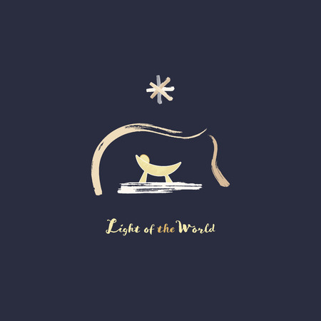 Période de Noël. Mangeoire avec bébé Jésus et étoile de Bethléem dans un style aquarelle. Texte : Lumière du monde. Vecteurs