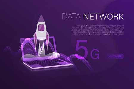 Business and finance. Vector illustration for 5G network, data analysis or cloud technology. Illustration