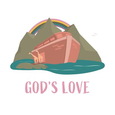 Christian worship and praise. Noah's ark with rainbow and text: God's love