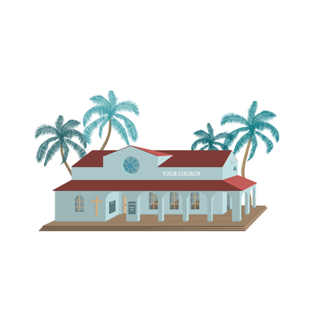 Christian worship and praise. 3d vector church building with palms. Ilustração