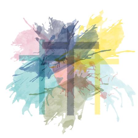 Christliche Anbetung und Lobpreis. Drei Kreuze mit Aquarellspritzern.