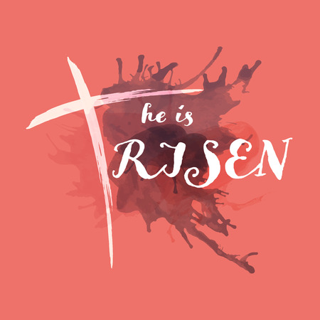 Christian worship and praise. Cross with watercolor splashes. Text : He is Risen Иллюстрация