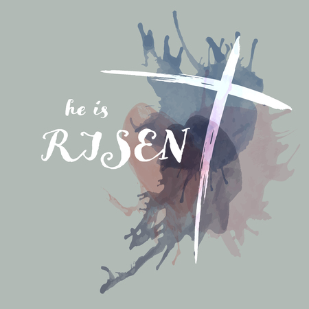 Christian worship and praise. Cross with watercolor splashes. Text : He is Risen Illustration