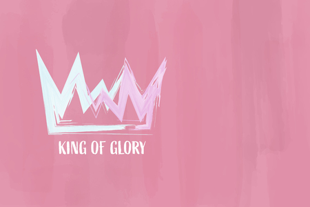 Christian worship and praise. Crown with watercolor splashes. Text : King of Glory Ilustração Vetorial